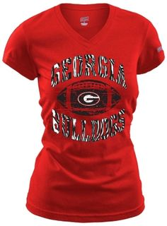 T-Shirt that features short sleeves, V-neck and a Georgia Bulldogs screenprint on the front. Quality construction that never goes out of style along with the UGA Bulldogs football team spirit. GO BULLDOGS!