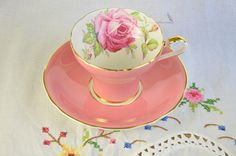 Pink corset Aynsley tea cup and saucer cabbage rose corset