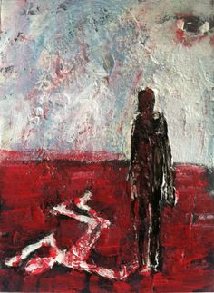 """CAIN # 3"" , horror art,   original art,ACEO  jack larson 3.5""x2.5"" #Abstract"