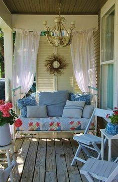 Balcony Curtains, Balcony Privacy, Privacy Curtains, Privacy Screens, Screened Porch Designs, Screened In Porch, Porch Swing, Pergola Swing, Front Porches