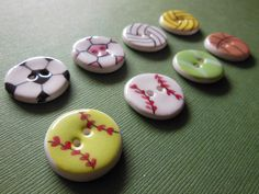 Sports Ceramic Buttons - Baseball, Softball, Volleyball, Soccer, Tennis, Basketball, Waterpolo. $15.00, via Etsy. By This One's Mine! Designs