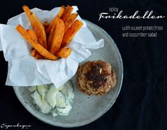 Spicy frikadeller with sweet potato fries and cucumber salad - a #Danish classic with a new twist   |   The Copenhagen Tales