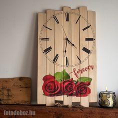 Fali óra | Félköríves, rusztikus, fa óra fényképes ajándék Fa, Lego, Clock, Home Decor, Watch, Decoration Home, Room Decor, Legos, Clocks
