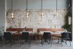 'A look inside Mansura restaurant, Tel Aviv's new dining destination set in an old auto-repair shop…' Garage Interior, Restaurant Interior Design, Restaurant Concept, Restaurant Bar, Thailand Restaurant, Garage Cafe, Tiny House Hotel, May House, Lokal
