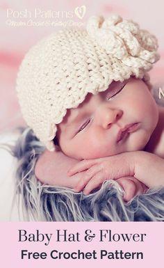 Baby Hat and Flower Free Crochet Pattern 1334aa8d3b