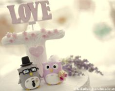 Owls wedding cake topperk519 by kikuike on Etsy