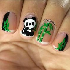 Opting for bright colours or intricate nail art isn't a must anymore. This year, nude nail designs are becoming a trend. Here are some nude nail designs. Animal Nail Designs, Animal Nail Art, Best Nail Art Designs, Panda Nail Art, Kawaii Nail Art, Panda Bear Nails, Cute Nails, Pretty Nails, Nagellack Design