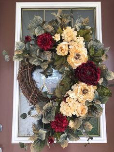 The focal point is a big beautiful deep red peony centered among very realistic variegated Front Door Decor, Wreaths For Front Door, Door Wreaths, Wreath Crafts, Diy Wreath, Grapevine Wreath, Fall Wreaths, Deco Mesh Wreaths, Christmas Wreaths