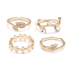 Forever 21 Etched Leaf Ring Set ($5.90) ❤ liked on Polyvore featuring jewelry, rings, forever 21, leaves ring, forever 21 rings, polish jewelry and rhinestone rings