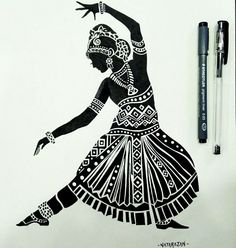 Indian classical dance is sustained by a profound philosophy. Form seeks to merge with the formless motions seek to become a part of the motionless and the dancing individual seeks to become one with the eternal dance of the cosmos. Doodle Art Drawing, Pencil Art Drawings, Cool Art Drawings, Art Drawings Sketches, Black Pen Drawing, Dance Paintings, Indian Art Paintings, Zantangle Art, Pen Art