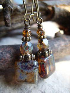 SALE! Rustic Squares - Czech Glass Picasso & Antiqued Bronze Earrings, Boho Earrings, Rustic Jewelry, Steampunk Earrings