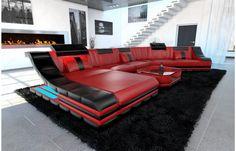 Leder Wohnlandschaft TURINO CL mit LED in rot-schwarz - Exklusiv bei Sofa Dreams!