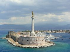 """Statue of """"Our Lady of the Letter"""" in the Harbor of Messina - Sicily (Photo by Judith B. Trimarchi starranchnm.com)"""