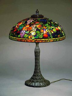 Tiffany Lamp Fruit Two Seasons Tiffany Lamp Shade, Tiffany Style Table Lamps, Tiffany Lamps, Stained Glass Lamp Shades, Tiffany Stained Glass, Stained Glass Art, Victorian Lamps, Antique Lamps, Vintage Lamps