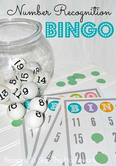 Number recognition bingo - perfect for toddlers!  via Reasons to Skip the Housework #kidsprojects #bingo #printable