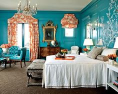Turquoise walls & coral window treatments!!