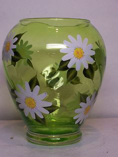 Glass Flower Vase Peridot Green Daisy Painted