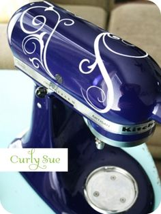 Mixer Decals.  This one is called Curly Sue, and I would really love them in a shade of blue for my gray mixer!