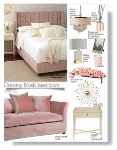 """""""Dreamy blush bedroom"""" by rere-renove ❤ liked on Polyvore featuring interior, interiors, interior design, home, home decor, interior decorating, Universal Lighting and Decor, Uttermost, Tom Dixon and WALL"""