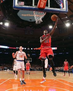 Jimmy Butler #21 of the Chicago Bulls scores two in the second half of the game against the New York Knicks at Madison Square Garden on December 21, 2012 in New York City.