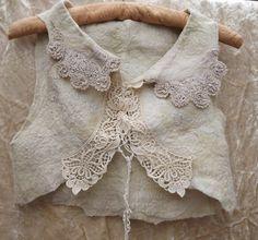 Nuno Felted Lace Bolero,  Vintage Lace Bolero,  Vintage Lace Vest,  Fairy Vest,  Felt Art,  Fairytale Vest on Etsy, $95.00