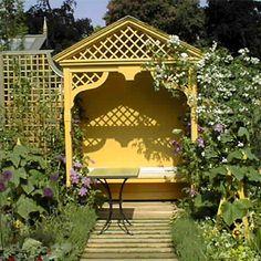 Yellow Arbor and Bench - By Lloyd Christie Garden Architecture(Diy Garden Seating) Garden Architecture, Garden Buildings, Garden Structures, Garden Nook, Garden Arbor, Steep Gardens, Yellow Cottage, Covered Garden, Garden Seating