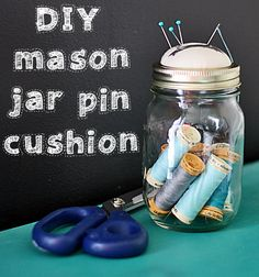 DIY Mason jar pin cushion: how to make your own pin cushion out of a mason jar, lid, small amount of batting or fiber fill. Link is to a tutorial on thegraphicsfairy.com. You can store thread, small scissors, buttons, etc inside the jar. If you use a smaller mason jar, you can store pins inside.