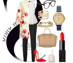 BOARDROOM READY (Week 1): BLACK CIGARETTE TROUSERS #stellamccartney #blacktrousers #cigarette #pants #sleek #officestyle #redlipstick #redpumps #floralcoat #white #peplum #blouse