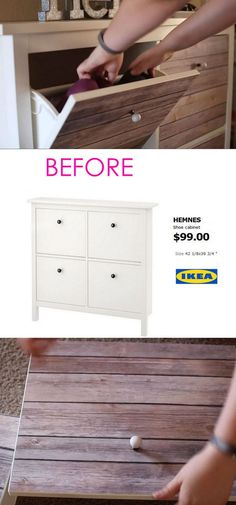 20 Smart and Gorgeous IKEA Hacks: save time and money with functional designs and beautiful transformations. Great ideas for every room such as IKEA hack bed, desk, dressers, kitchen islands, and more! - A Piece of Rainbow Shoe Storage Ikea Hack, Hack Ikea, Murphy-bett Ikea, Ikea Hack Bedroom, Diy Bedroom, Garage Storage, Diy Storage, Ikea Interior, Ikea Hemnes Shoe Cabinet