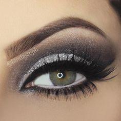 Silver & Black cut crease eye makeup