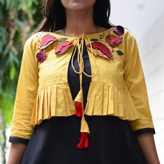 Black & Mustard Kediya Style Embroidered Dress with Pockets - Rustorange Simple Kurta Designs, Kurta Designs Women, Shrug For Dresses, Indian Gowns Dresses, Dress Neck Designs, Blouse Designs, Blouse Patterns, Lehenga, Anarkali