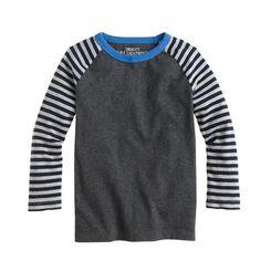 Love the striped raglan sleeves. Use our Field Trip Raglan Tee pattern to create a similar look.