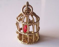 Large  9ct Gold Gem Set Bird in a Cage Charm by TrueVintageCharms