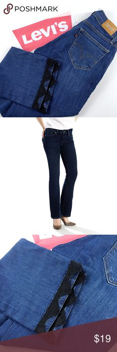 """Levis Mid Rise 529 Curvy Boot Cut Jeans Levis mid rise 529 curry bootcut jeans with lace lined bottom hems. Size 4 with stretch.Approximate measurements are : Waist 14.5"""" Inseam 30"""" Rise 9"""" Ankle 9"""". Stock photo is to show the style and cut of the jeans. Pre loved in great condition, Please see all photos. Levi's Jeans Boot Cut"""