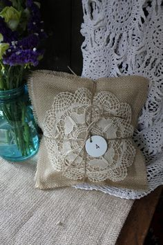 Dried Lavender Filled Vintage Image French Inspired Sachet Pillow