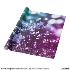 #BlueAndPurpleBokeh #FauxGlitter & #Stars #WrappingPaper by #MoonDreamsDesigns
