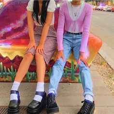 Image about fashion in looks by helmetboy on We Heart It Indie Outfits, Retro Outfits, Trendy Outfits, Vintage Outfits, Cool Outfits, Fashion Outfits, Indie Clothes, Colourful Outfits, 2000s Fashion