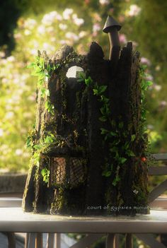 Fantasy Fairy Tree Stump Doll House Cottage Dollhouse for Critters Tiny BJD 1:12 Scale. $350.00, via Etsy./sold
