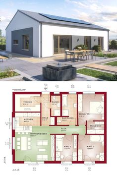 """Bungalow House Plans Modern Contemporary European Minimalist Style Architecture Design """"AMBIENCE 110 - Dream Home Ideas with One Level and Open Floor Layout by Bien Zenker - Arquitectura moderna casas planos - HausbauDirekt. Modern Bungalow House, Bungalow House Plans, Modern House Plans, Small House Plans, Modern House Design, Bungalow Kitchen, Modern Architecture Design, Roof Architecture, Casa Loft"""
