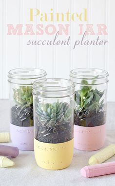 How pretty are these? DIY painted mason jar succulent planters.