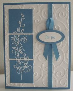 "Stamps:  Echoes of Kindness, Vintage Labels (sentiment) (Stampin' Up!)  Paper:  Marina Mist, Whisper White (Stampin' Up!)  Ink:  Marina Mist, Versamark (SU!)  Accessories & Tools:  Cuttlebug embossing folder, white embossing powder, heat tool, 1/4"" Marina Mist grosgrain ribbon (approx. 12 "" - divided), small oval punch, medium oval punch, sticky strips, adhesives and dimensionals"