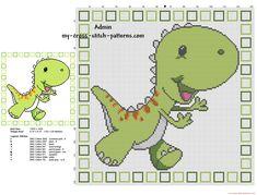 Children pillow with green cartoon dinosaur cross stitch pattern 128 x 128 stitches