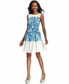 37c863001598 Tahari by ASL Sleeveless Floral-Print Pleated Dress & Reviews - Dresses -  Women - Macy's