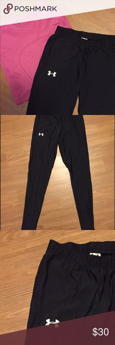 UnderArmour black heat gear running workout tights These are great tights that served me well through a dozen or so workouts. Thin, lightweight material that is thick enough that your underwear won't show through! Great piece for cool-but-not-frozen days. Under Armour Pants Leggings