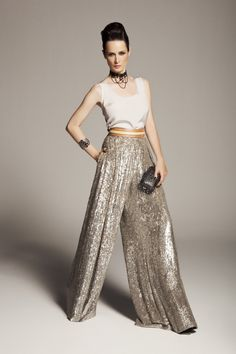 Closh Yeni Koleksiyon 2014 2015 Beyaz Renkli Askılı Bluz Lame Renkli Payetli Bol Paça Pantolon Modeli - Silver sequin bell bottom pants