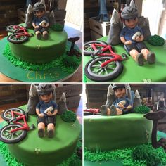 Mountain Bike Cake A cycling themed cake fit for any pedal pushing fanatics! Made by me (a complete novice baker) for my husband's birthday. All decorations made from Fondant icing and the sponge was chocolate with chocolate buttercream.