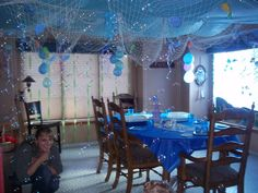 Under the Sea Party: the net hanging from the ceiling. Ocean Party, Water Party, Shark Party, Mermaid Baby Showers, Little Mermaid Parties, Under The Sea Party, Mermaid Birthday, Birthday Party Themes, 2nd Birthday