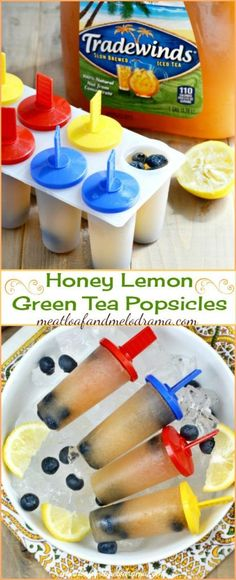 Easy Honey Lemon Green Tea Popsicles with Blueberries -- These frozen summer treats are easy to make and very refreshing!