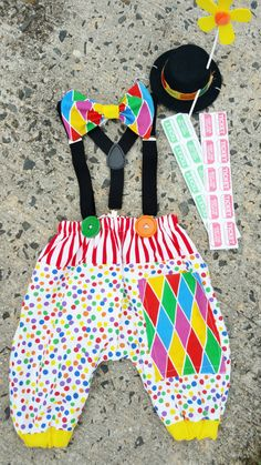 Boys Circus Outfit, 12-18 or 18-24 months, Fits weight 20-28 lbs. ***Ready to Ship/Clown Costume, Boys 1st Birthday, Circus Photo Prop, Boys Circus Birthday/MYSWEETCHICKAPEA Easy fit 5 pc Outfit circus theme includes whimsical hat bowtie pants suspenders Elastic waist allows
