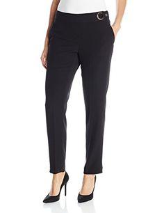 Calvin Klein Women's Pant with Ring Hardware, Black, 14 C-$89.50